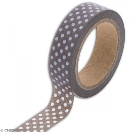 Masking tape Toga - Color factory naissance - Pois taupe - 10 mètres - Photo n°3