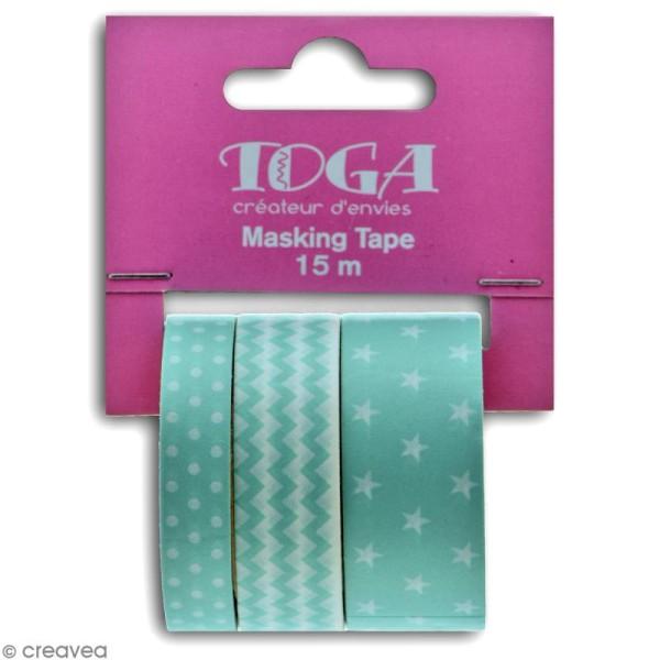 Masking tape Toga - Color factory - Géométrique vert bleu menthe - 3 rouleaux - Photo n°3