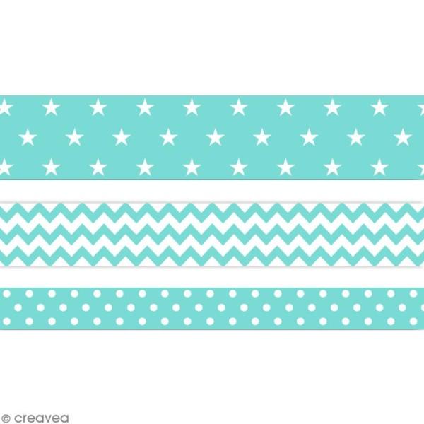 Masking tape Toga - Color factory - Géométrique vert bleu menthe - 3 rouleaux - Photo n°1