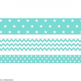 Masking tape Toga - Color factory - Géométrique vert bleu menthe - 3 rouleaux