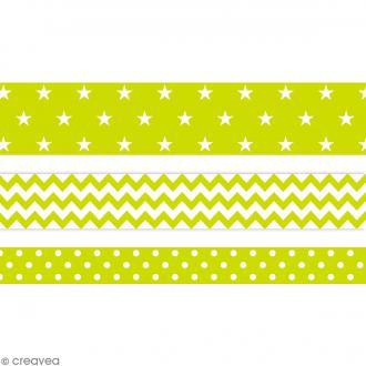 Masking tape Toga - Color factory - Géométrique vert anis - 3 rouleaux
