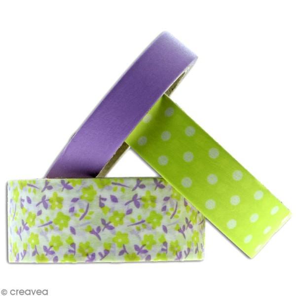 Masking tape Toga - Color factory - Fleurs Pois et Uni violet et vert - 3 rouleaux - Photo n°2