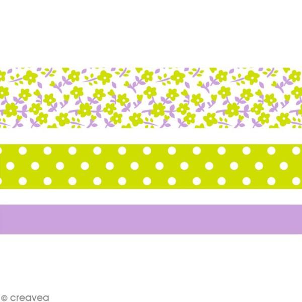 Masking tape Toga - Color factory - Fleurs Pois et Uni violet et vert - 3 rouleaux - Photo n°1