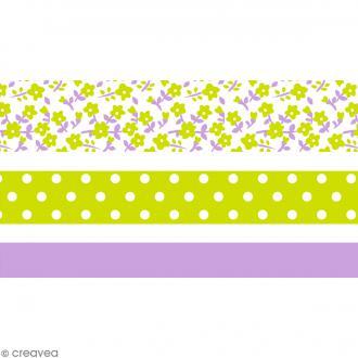 Masking tape Toga - Color factory - Fleurs Pois et Uni violet et vert - 3 rouleaux