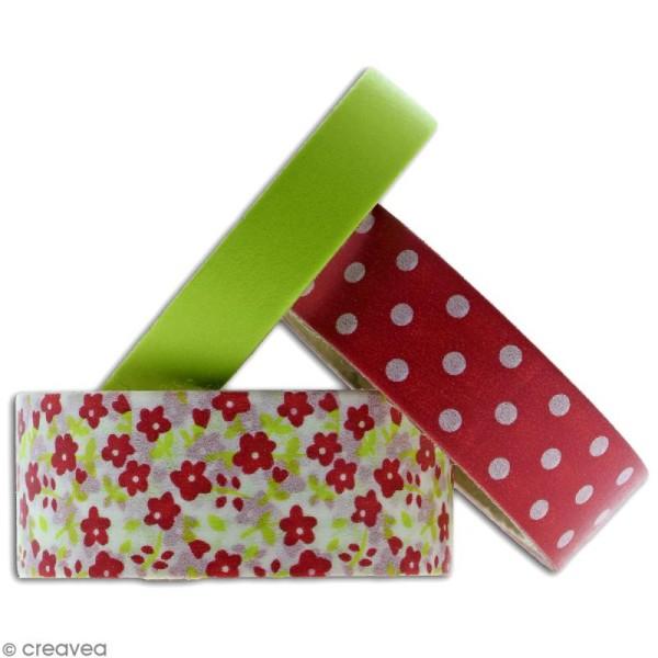 Masking tape Toga - Color factory - Fleurs Pois et Uni rose et vert - 3 rouleaux - Photo n°2