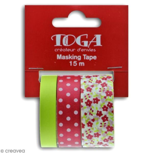 Masking tape Toga - Color factory - Fleurs Pois et Uni rose et vert - 3 rouleaux - Photo n°3