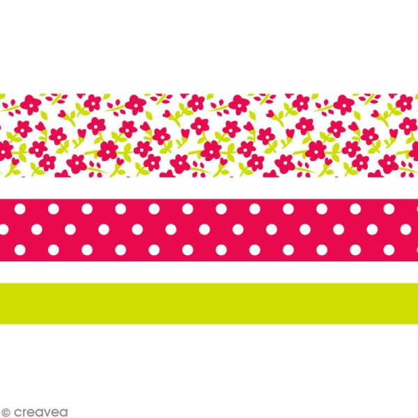 Masking tape Toga - Color factory - Fleurs Pois et Uni rose et vert - 3 rouleaux - Photo n°1