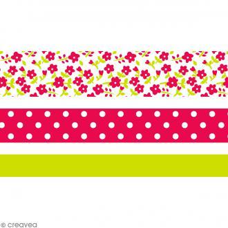 Masking tape Toga - Color factory - Fleurs Pois et Uni rose et vert - 3 rouleaux