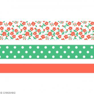 Masking tape Toga - Color factory - Fleurs Pois et Uni corail et vert - 3 rouleaux