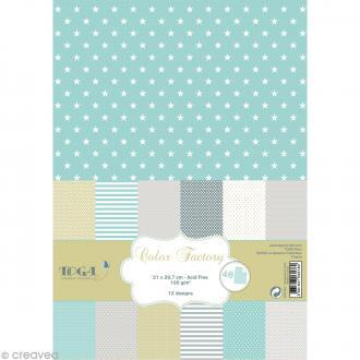 Papier scrapbooking Toga - Color factory - Menthe gris amande - 48 feuilles A4