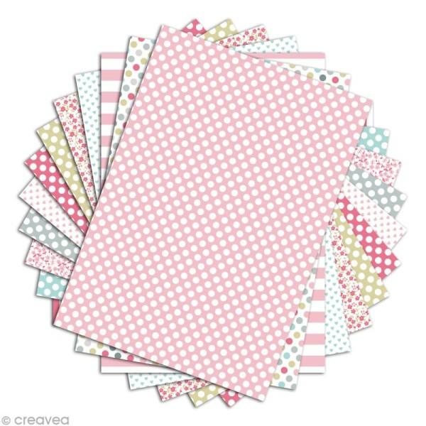 Papier scrapbooking Toga - Color factory - Rose vert gris - 48 feuilles A4 - Photo n°2