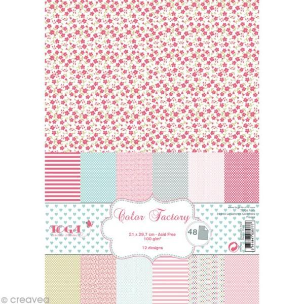 Papier scrapbooking Toga - Color factory - Rose vert gris - 48 feuilles A4 - Photo n°1
