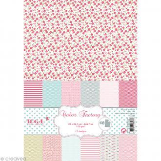 Papier scrapbooking Toga - Color factory - Rose vert gris - 48 feuilles A4