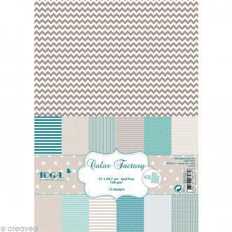 Papier scrapbooking Toga - Color factory - Bleu beige taupe - 48 feuilles A4