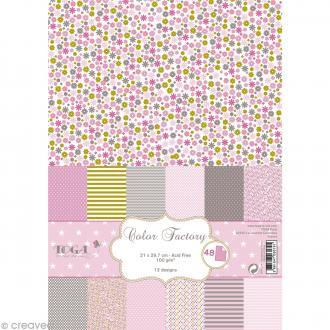 Papier scrapbooking Toga - Color factory - Grenadine amande rose - 48 feuilles A4