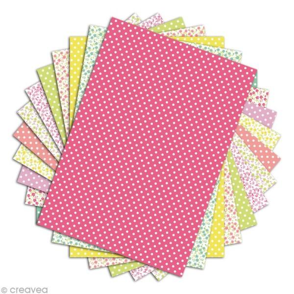 Papier scrapbooking Toga - Color factory - Fleurs et pois - 48 feuilles A4 - Photo n°2