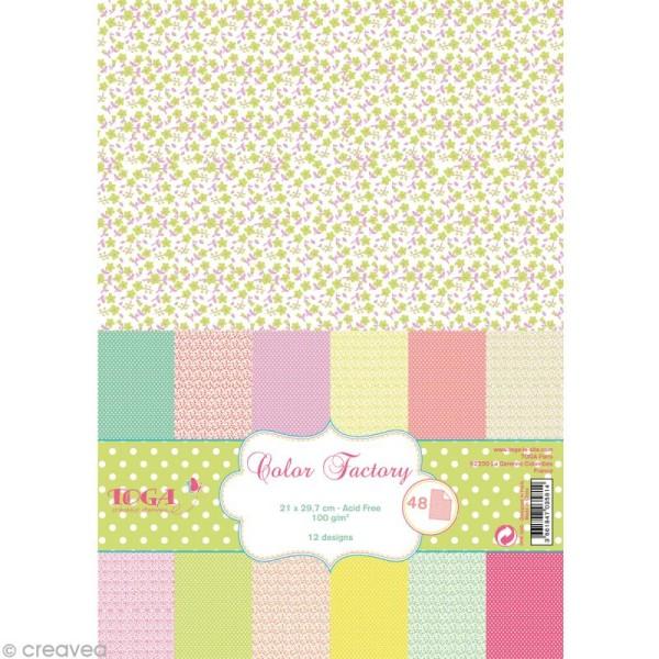 Papier scrapbooking Toga - Color factory - Fleurs et pois - 48 feuilles A4 - Photo n°1