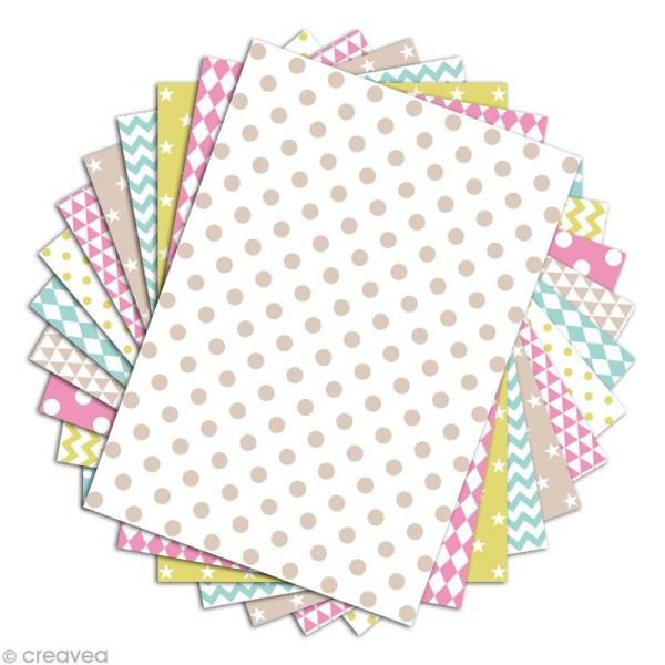 Papier scrapbooking Toga - Color factory - Motifs géométriques - 48 feuilles A4 - Photo n°2