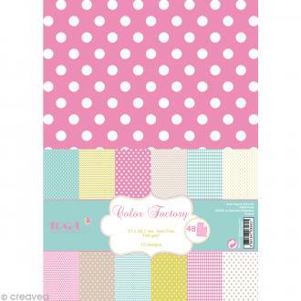 Papier scrapbooking Toga - Color factory - Motifs géométriques - 48 feuilles A4
