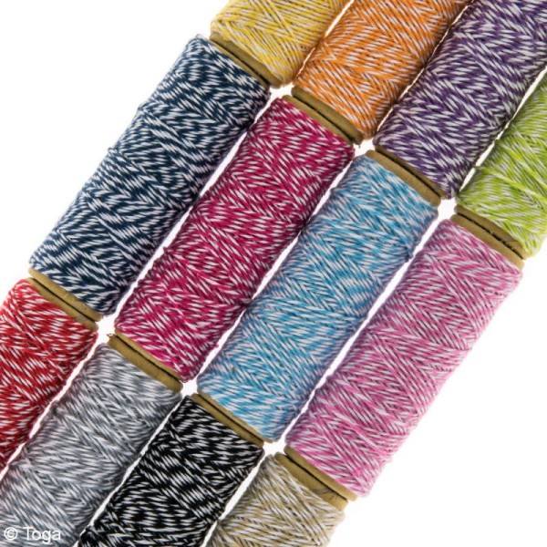 Assortiment ficelle twine bicolore - 12 bobines de 10 mètres - Photo n°2