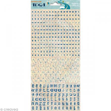 Stickers alphabet Globe trotter - 1 planche de 375 autocollants - Photo n°1
