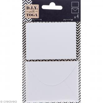 Mini enveloppe et carte scrapbooking - Blanc - 8 pcs