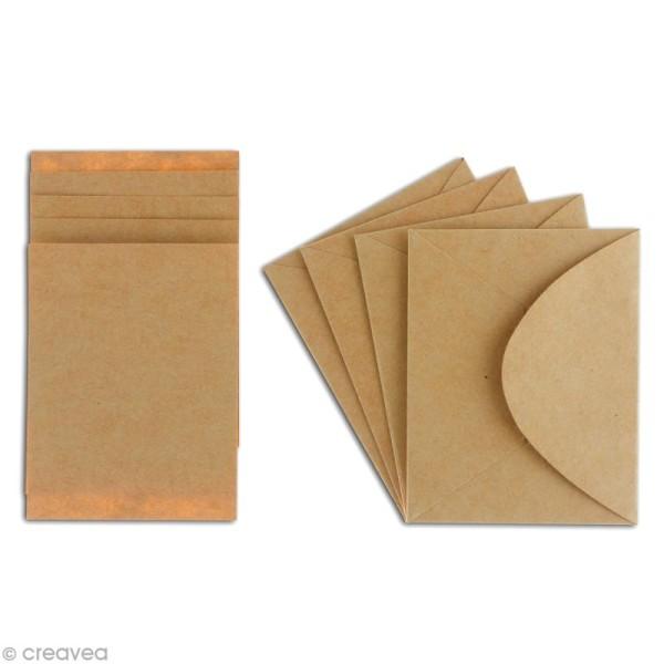 Mini enveloppe et carte scrapbooking - Kraft - 8 pcs - Photo n°2