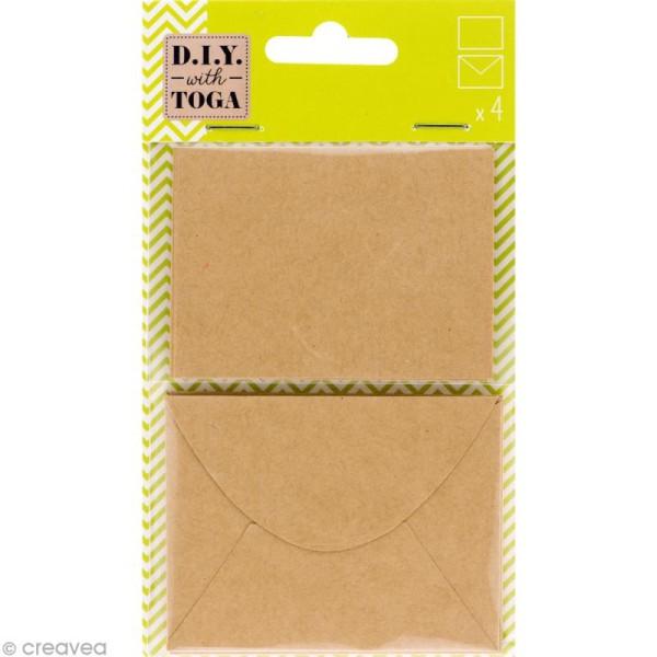 Mini enveloppe et carte scrapbooking - Kraft - 8 pcs - Photo n°1