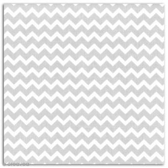 Coupon de coton enduit 45 x 53 cm - Chevrons taupe et blanc
