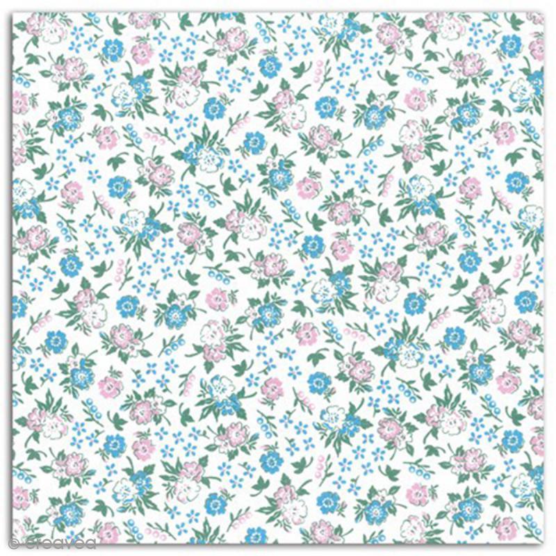 Coupon de coton enduit 45 x 53 cm fleurettes roses et for Enduit pour recouvrir carrelage