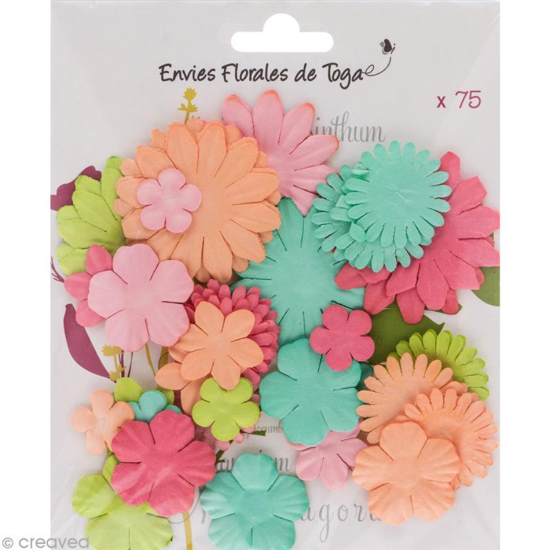 Assortiment de fleurs en papier - Rose Melon Vert menthe et Anis - 75 pcs - Photo n°1