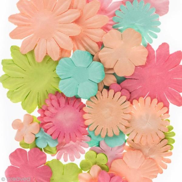 Assortiment de fleurs en papier - Rose Melon Vert menthe et Anis - 75 pcs - Photo n°2