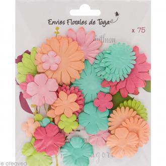 Assortiment de fleurs en papier - Rose Melon Vert menthe et Anis - 75 pcs