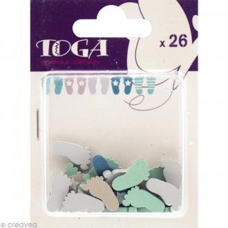 Formes en bois Color factory - Pied de bébé Bleu et taupe - 26 pcs