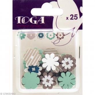 Formes en bois Color factory - Fleur Bleu et taupe - 25 pcs
