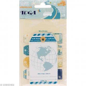 Tags étiquettes Globe trotter - 5 x 9 cm - 8 pcs