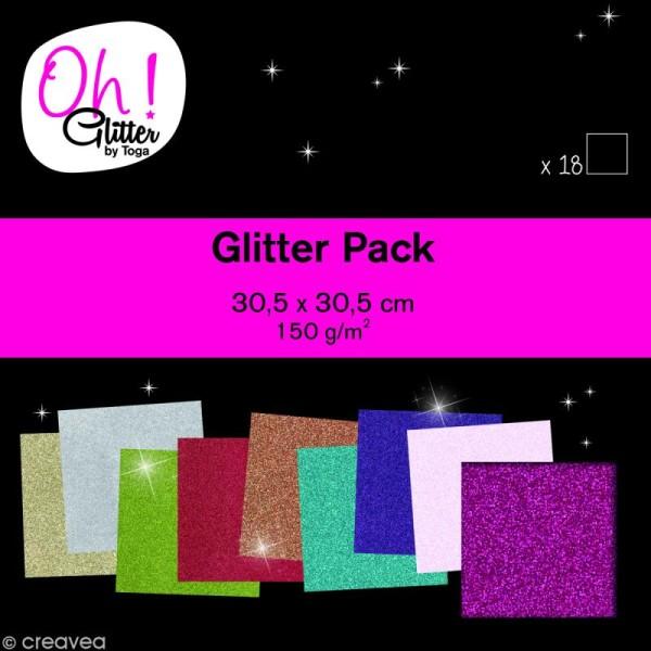 Papier pailleté scrapbooking - Oh Glitter ! Toga - 30 x 30 cm - 18 feuilles - Photo n°1