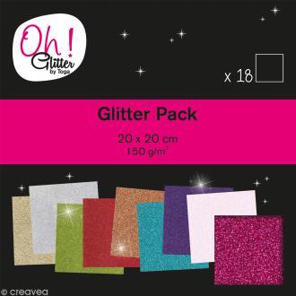 Papier pailleté scrapbooking - Oh Glitter ! Toga - 20 x 20 cm - 18 feuilles