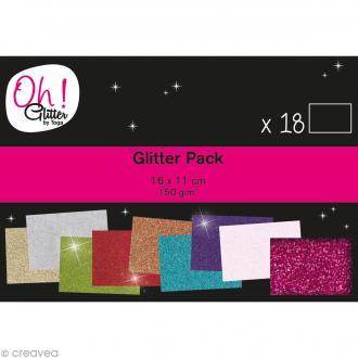 Papier pailleté scrapbooking - Oh Glitter ! Toga - 11 x 16 cm - 18 feuilles