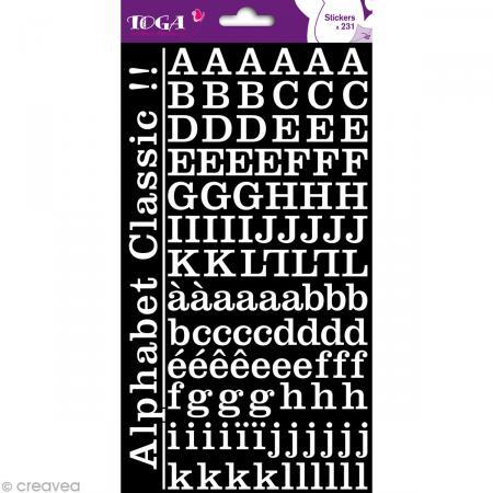 Alphabet autocollant Toga - Blanc - 2 planches 26 x 14,5 cm - Photo n°1