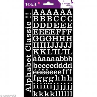 Alphabet autocollant Toga - Blanc - 2 planches 26 x 14,5 cm