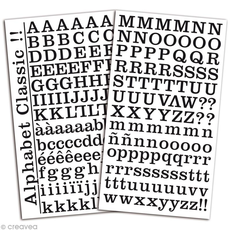 Alphabet autocollant Toga - Noir - 2 planches 26 x 14,5 cm - Photo n°2