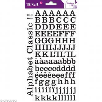 Alphabet autocollant Toga - Noir - 2 planches 26 x 14,5 cm
