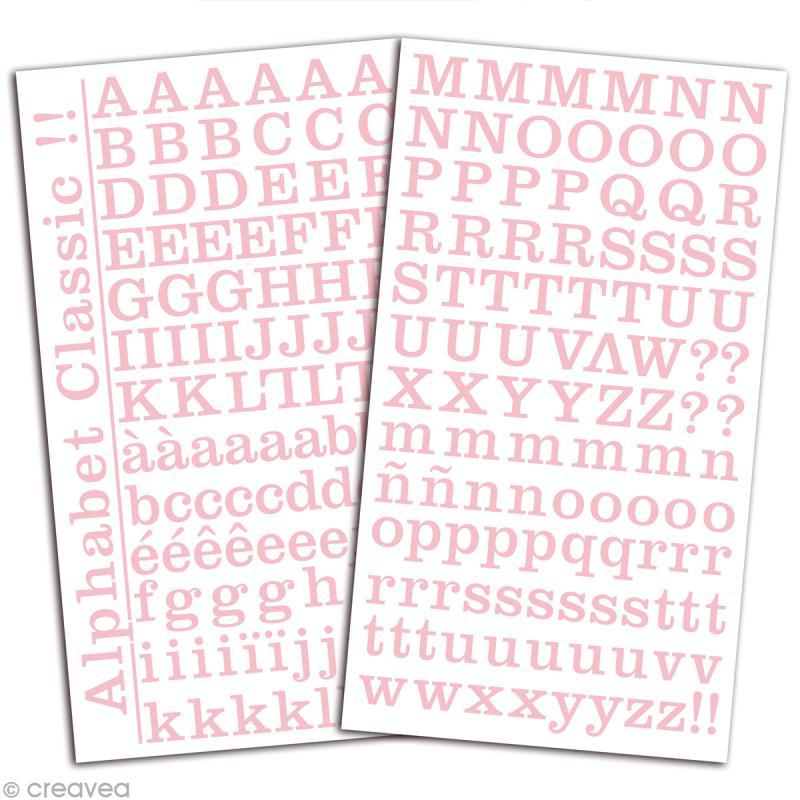 Alphabet autocollant Toga - Rose dragée - 2 planches 26 x 14,5 cm - Photo n°2