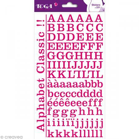 Alphabet autocollant Toga - Rose fuchsia - 2 planches 26 x 14,5 cm - Photo n°1