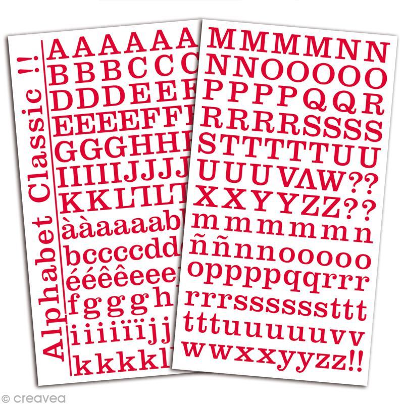 Alphabet autocollant Toga - Rouge - 2 planches 26 x 14,5 cm - Photo n°2