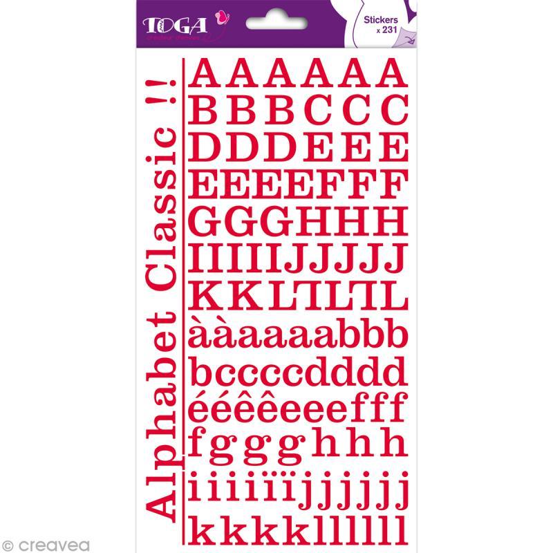 Alphabet autocollant Toga - Rouge - 2 planches 26 x 14,5 cm - Photo n°1