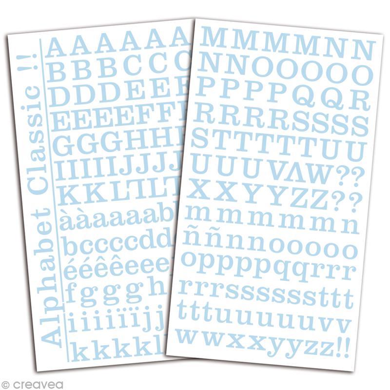 Alphabet autocollant Toga - Bleu ciel - 2 planches 26 x 14,5 cm - Photo n°2