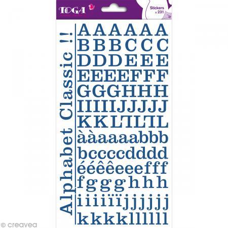 Alphabet autocollant Toga - Bleu jeans - 2 planches 26 x 14,5 cm - Photo n°1