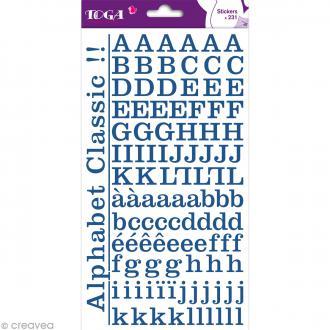 Alphabet autocollant Toga - Bleu jeans - 2 planches 26 x 14,5 cm